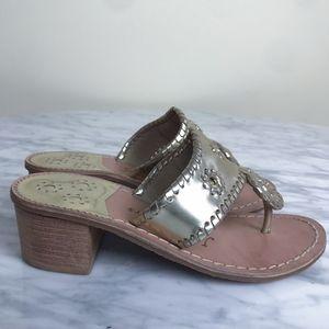 Jack Rogers Midi Block Heel Gold Sandals
